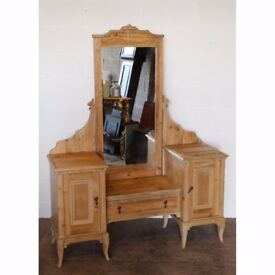 A Victorian Pine Mirrored Dressing Table Raised on Cabriole Supports UK Delivery Available