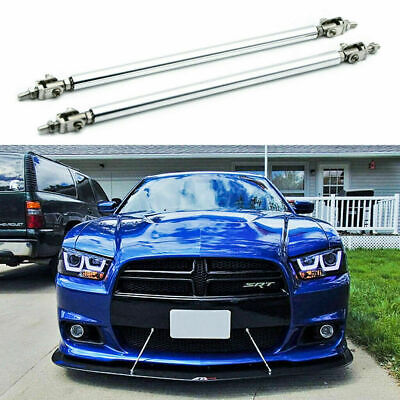 "2x 8""-11"" Silver Adjust Bumper Lip Splitter Strut Rod Tie Support Bars for Dodge"