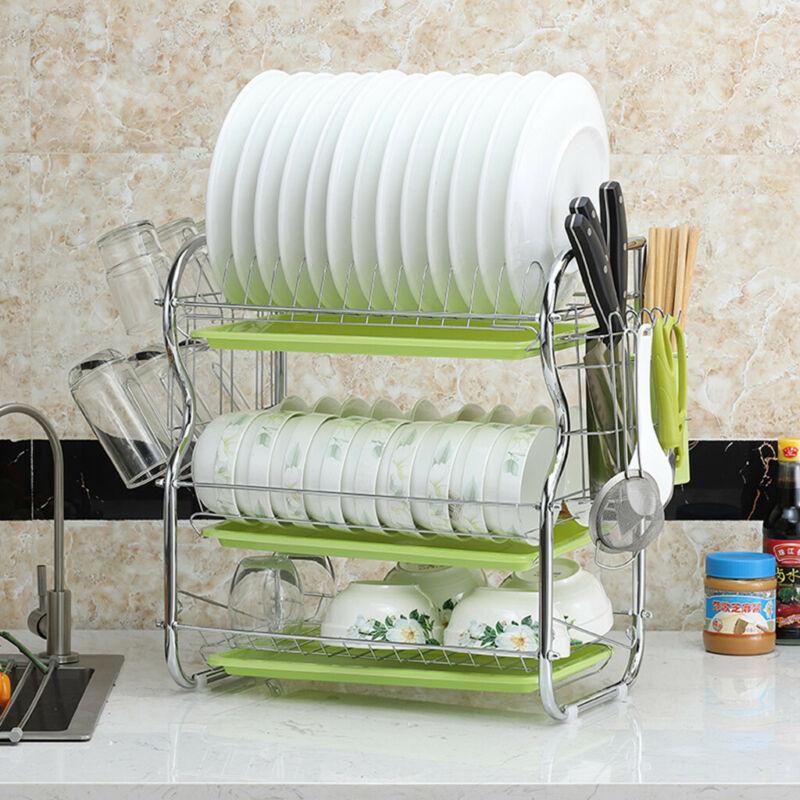 Dish Drainer 2 Steel Kitchen Holder Shelf