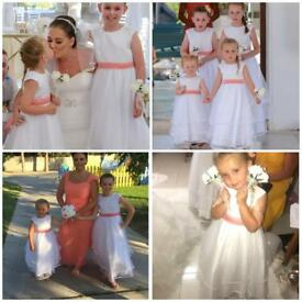 4 X carriages and castles flower girl dresses