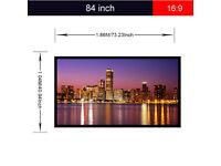 New,, Portable,,84 inch,,,4:3 Fabric Matte PVC Projector Screen 1080P 3D