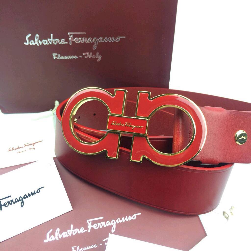 Red on red over sized unique statement red mens leather belt salvatore ferragamo boxed gift