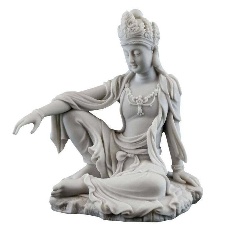 """KWAN YIN STATUE 7.25"""" Royal Ease Buddhist Goddess White Marble Finish Resin Guan"""