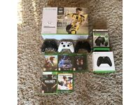 Xbox One S 500GB Bundle inc. 4 Wireless Controllers, 2 Chargers, Remote & Games