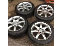 """Genuine set of 4 Mercedes C-Class 2005 Alloy wheels 17"""" 4 excellent tyres fits year 01-07"""