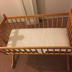 Sold Pine Rocking Baby Crib with Mattress