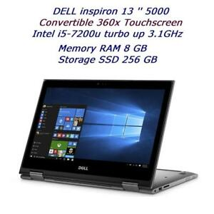 DELL inspiron 13 serie 5000 TouchScreen Convertible 2 in 1, i5-7200u 3.1ghz, 8GB,256GB,windows 10, McOffice Pro 2016
