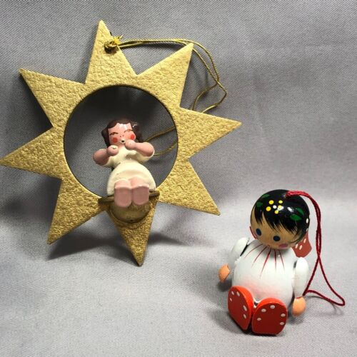2 ANGEL Vintage Wood CHRISTMAS ORNAMENT