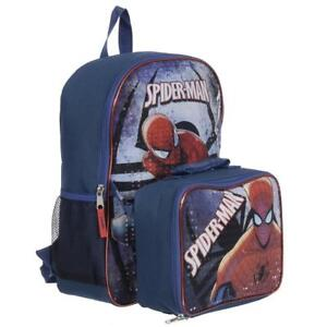 Spider Man Kids 15 Inch School Backpack Set with Lunch Kit and Pencil Case