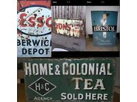 Wanted metal old shop signs advertising antique vintage garage enamel