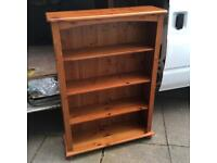 Solid pine shelves bookcase storage 87cm wide x 125cm tall upcycling