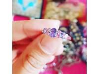 14k White Gold Gem Ring