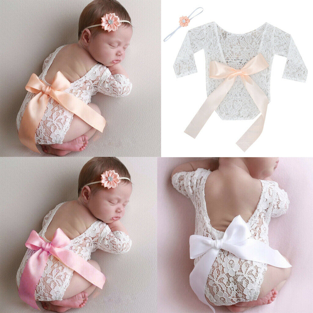Newborn Infant Baby Girls Floral Lace Romper Bodysuit Jumpsu