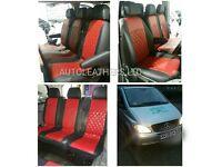 CAR LEATHER SEAT COVERS MERCEDES VITO RENAULT TRAFFIC VAUXHALL VIVARO FORD TRANSIT TOYOTA ESTIMA