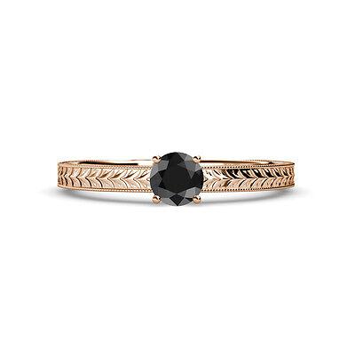 Black Diamond Engraved Solitaire Engagement Ring   Wedding Band 14K Rose Gold