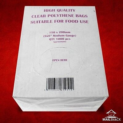 1000 CLEAR Polythene Food Craft Plastic Bags Medium Gauge 6