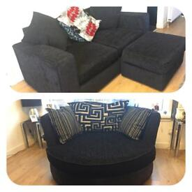 Two Seater Black Sofa with Storage Footstool and Matching 2 Seater Cuddle Chair