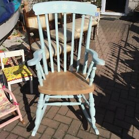 Lovely up cycled solid pine/beech rocking chair,would make a lovely gift for a nursery