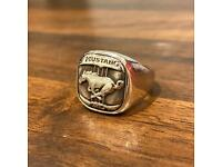 Vintage Ford Mustang Signet Ring .935 Silver