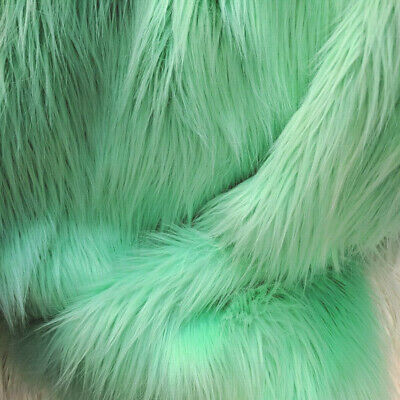 PASTEL MINT GREEN SHAGGY FAUX FURRY FABRIC SOFT LIGHT SAGE DOLL COSTUME MONSTER