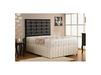 Divan bed with diamontie cube headboard and mattress