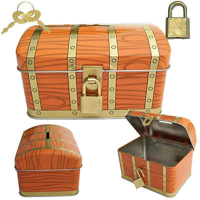 PIRATE Treasure Chest Toy Piggy Bank Coin/Cash/Money Lock and Key Box  FREE GIFT - Pirate Chest Toy Box