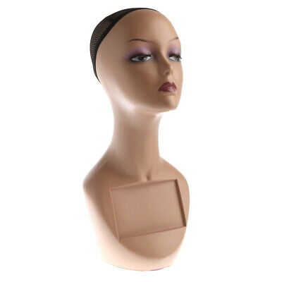 Female Mannequin Head Bust Wig Hat Scarf Display Model Stand With Net Cap