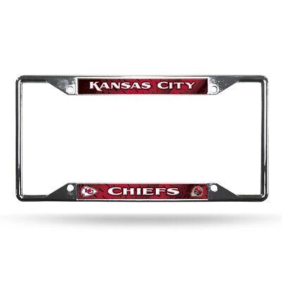 Kansas City Chiefs License Plate Frame Chrome EZ View