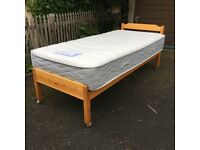 Pine single bed frame and Myers mattress