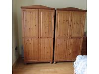 Two Pine Double Wardrobes.