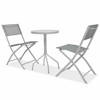 vidaXL Outdoor Bistro Set 3 Piece Textilene Grey Garden Table Foldable Chairs
