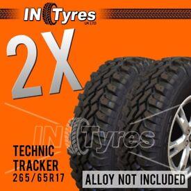 2x 265/65r17 Technic Tracker Mud Terrain MT 265 65 17 Retread Kingpin x2 Tyres