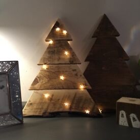Wall hung wooden rustic Christmas trees