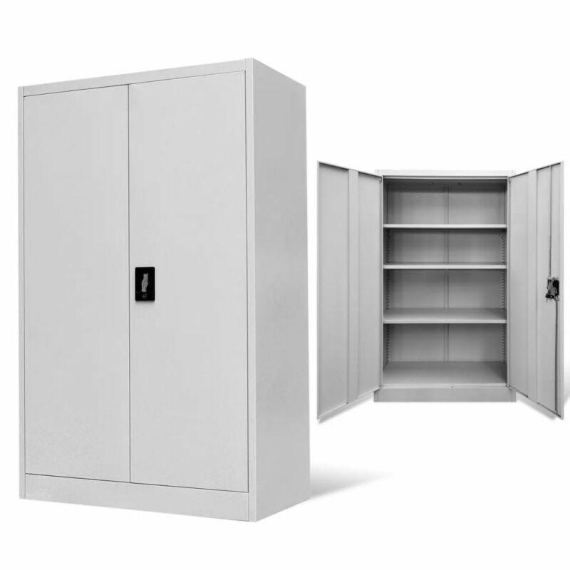 """vidaXL Office Cabinet 35.4""""x15.7""""x55.1"""" Steel Gray Room Indoor Storage Box"""