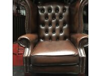 Stunning antique brown Chesterfield wingback armchair chair