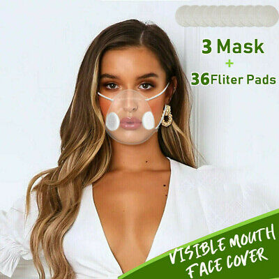 Anti-droplets Respirator Face Mouth Covers 3xReusable Clear Face Mask+36xFilter