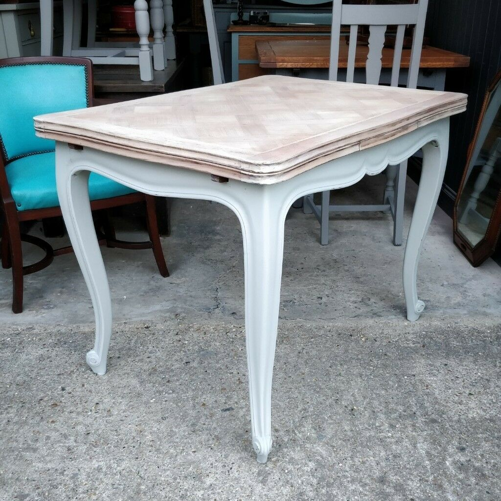 Small French Parquetry Top Dining Table Vintage 4 To 6 Seater