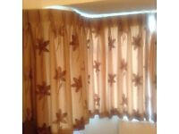 Brown floral Curtains, Hand made by Enfield Fabrics