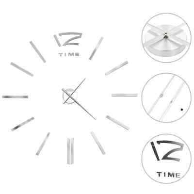 vidaXL Wanduhr 3D Deko 100 cm XXL Silbern Wand Uhr Wandtattoo DIY Wohnzimmer