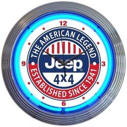Jeep The American Legend Neon Clock 15x15
