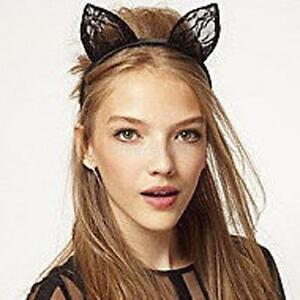 Fancy Dress Costume Black Wired Lace Cat Ears Halloween Headband Hen Night