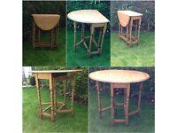 vintage solid oak small dropleaf barley twist gateleg table