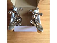 Bathroom mixer taps with shower and matching basin taps