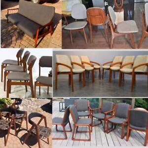 RESTORED Danish MCM Teak Dining Chairs from $199, Teak Armchairs, Teak Lounge Chair and Teak Sofa by Aksel Bender Madsen
