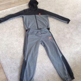 Grey and black adidas tracksuit