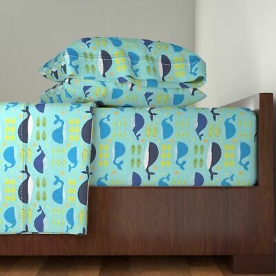 Whales Nautical Baby Nursery Fish Star 100% Cotton Sateen Sheet Set by Roostery