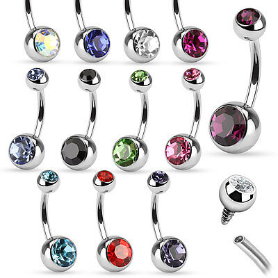 12pcs Wholesale Internally Threaded Double Gem Belly Rings Navel naval 14g
