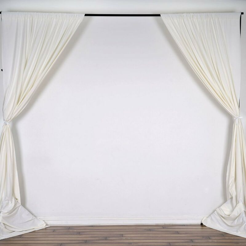 IVORY 10 x 10 ft Polyester BACKDROP CURTAINS Drapes Panels Home Decorations