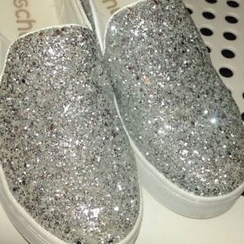 Pair Silver Glitter Flat Sole Shoes Size 6 NEW! Only £20!