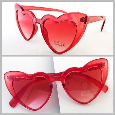 OVERSIZED VINTAGE RETRO Style FASHION Heart Shaped SUN GLASSES Transparent (Red Heart Shaped Sunglasses)